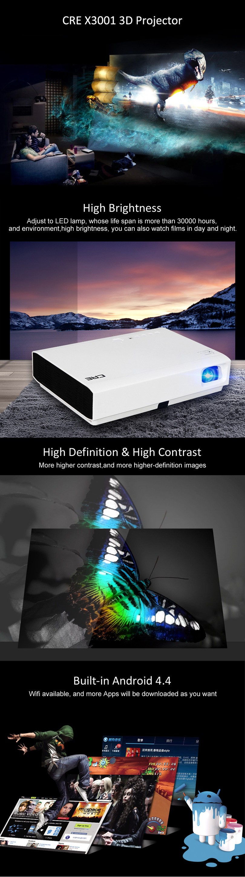 CRE WXGA 3000 lumens 800P widescreen 16:10 bluetooth shutter 3D led dlp mini projector hd 1080p