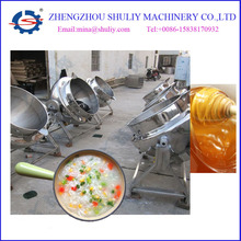 Electric steam jacketed boiling pan with mixer