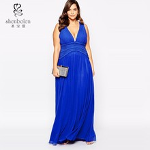 Sexy Nighty Dress Picture, Blue Plunge Neck Maxi Dress