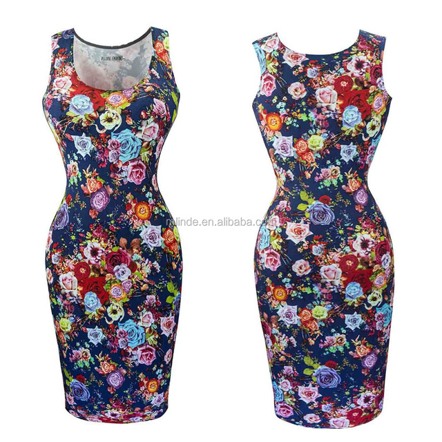 Cheap Summer Dresses Women's Sleeveless Scoop Neckline Slim Fit Floral Summer Dress for Party Wear Dresses Wholesale Custom