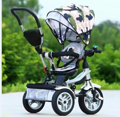 China wholesale luxury 4 in 1 baby tricycle cheap multifuction kids toys tricycle rotated 360degree