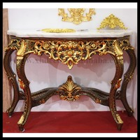 French Neo Classical Louis XVI Style Console Carved Gold Finish marble top console table