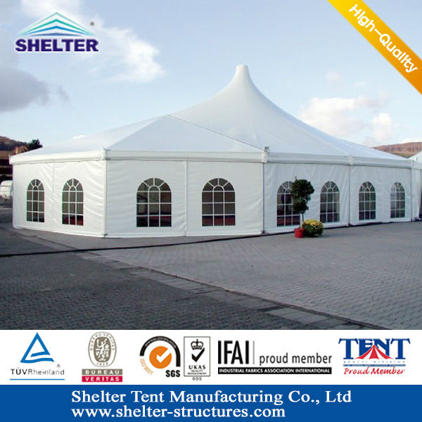 Guangzhou Shelter style used Waterproof PVC fabric fixed party tent for sale in south africa