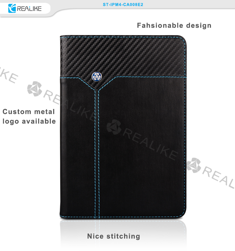 fashionable design leather tablet video kickstand cover case for ipad mini 4