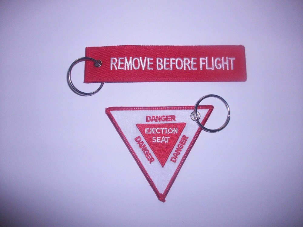 RAF AVIATION REMOVE BEFORE FLIGHT DANGER EJECTION SEAT EMBROIDERED KEY RINGS