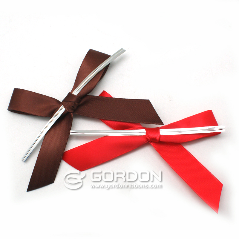 Pre-tie Double Face Satin Ribbon Bow with Wire for Packing