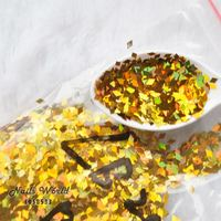 50g Nail Art Sequins Glitter Acrylic 3D Rhombus Shape Sequins Gold Nail Design Decoration Accesorries LB200-50g