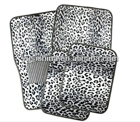 Grey Leopard Style with Rubberized Spiked Padding Floor Mats