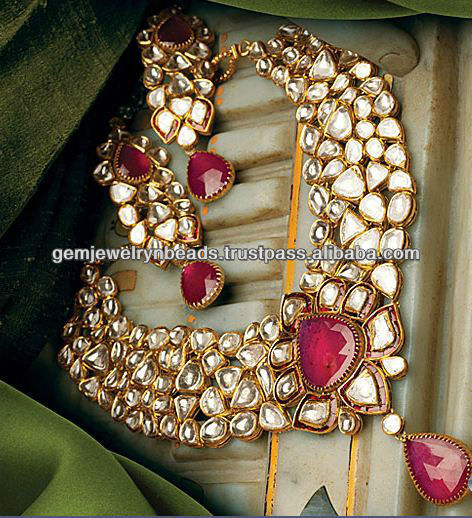 Traditional Indian Handmade Design Kundan Mina Necklace Set Tekewala Jewelry Supplier
