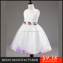 MGOO Stock High Quality 8 Girls Dress White Fancy Flowers Baby Clothing China Kids Princess Dress MGG001