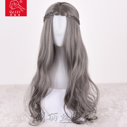 hot sale grey synthetic hair wave cosplay wig