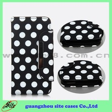Polka Dot wallent leather flip case for Iphone 5