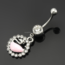 Swan Bird Navel Piercing 316L Surgical Steel Belly Button Rings Sexy Body Jewelry