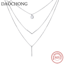 Fancy Simple High Quality 925 Sterling Silver Triple Layer Pendant Choker Necklace for Women