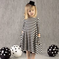 unikids 2016 New Autumn Winter Girls Dresses 2-6 Years Striped Kids Dress Children Casual Long Sleeve Clothing Party Baby Girls