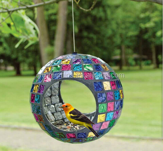 Hanging ring form mosaic glass automatic window bird feeder