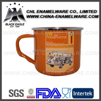 Orange color enamel mug