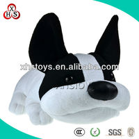 New design black and white plush big ears dog toy