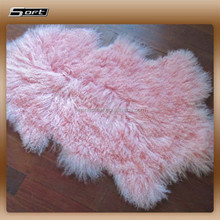 pink color natural shape long haired mongolian sheep fur