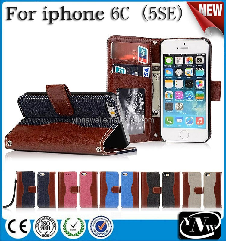 BRG Popular Selling Cowboy Leather Jeans Stand Case For iPhone 6c