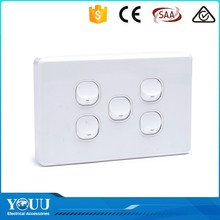2017 Good Quality Decorative SAA/IEC 10A 250VAC 5 Gang Electrical Wall Switch