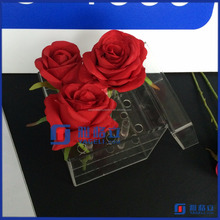 Yagelibest selling plexiglass display box with cover royal rose acryl clear flower packaging box with logo