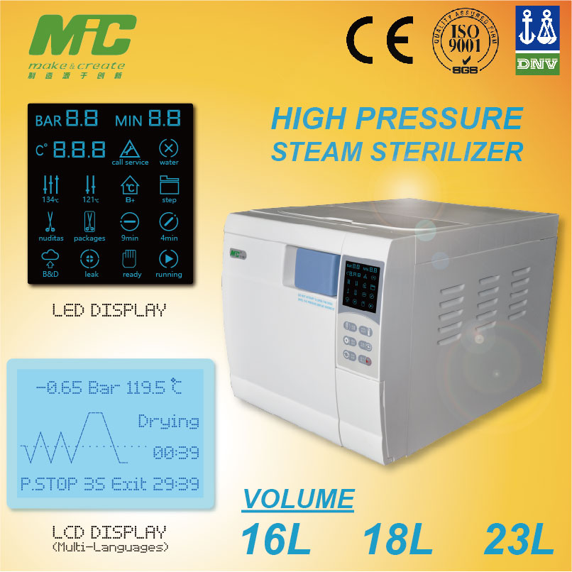 A48. MIC harga autoclave steam sterilizer with autoclave basket, USB (Output data), Serial Port (Print data)
