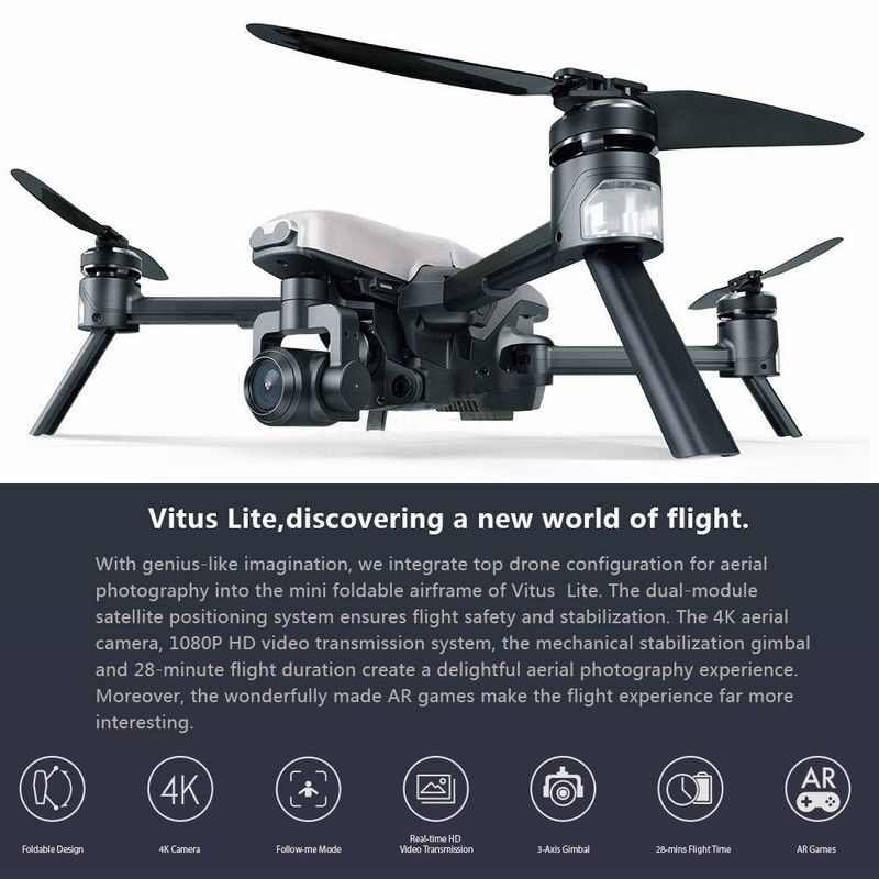 Walkera Newest VITUS320 Foldable Drone 4K Camera With DEVO-F8S Controller &3-Axis Gimbal