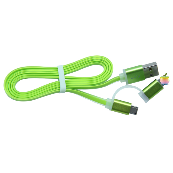 wholesale mobile phone accessory green color led 2 in 1 usb cable for iphone for samsung