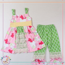 New arrival summer pink flowers butterfly lime green quatrefoil ruffle pants taiwan children clothes