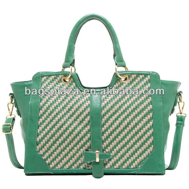 Guangzhou bags manufacturer wholesaler green tote bag weave leather handbag