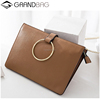 fashion trend lady women leather evening clutch bags pouch hand bag with lanyard