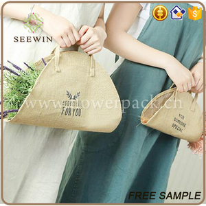 stylish round shape portable burlap flower carry bags