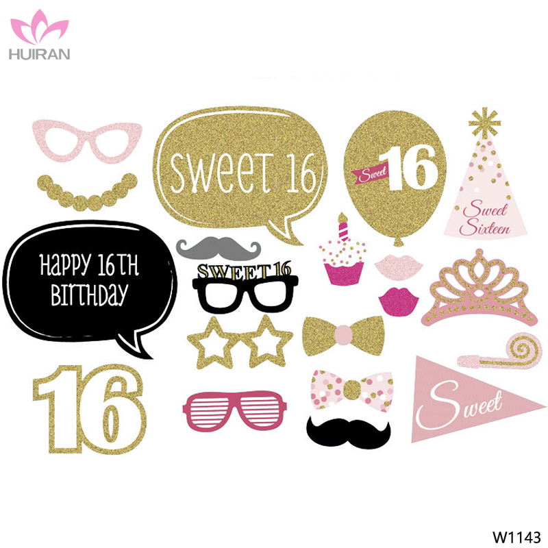 20pcs A Set 16th Happy Birthday Party Decoration Photo Booth Props