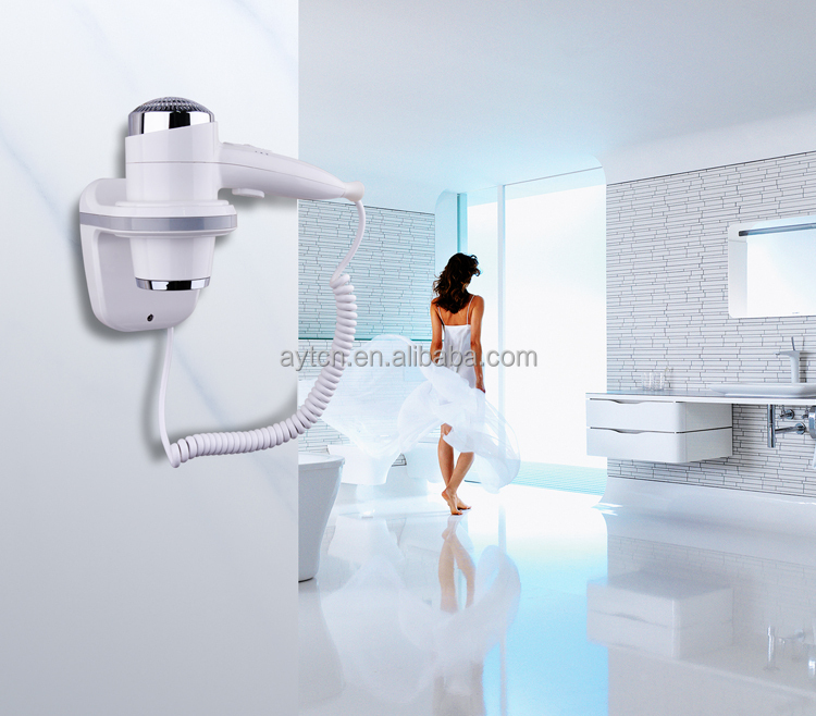 CE fast low noise wall mounted hotel hair dryer