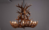 9 Heads Resin Antler Chandelier Fixture,Design Countryside Suspended Lamp Indoor Candle Deer Lighting Luminaire E14 110-240V