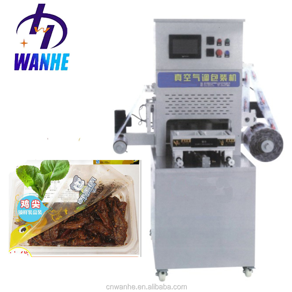 Semi automatic modified atmosphere map tray sealer vacuum packing machine for vegetables meat map packaging machine