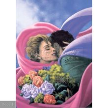 100% Handmade Pop Surrealism fantasy Umbrella oil Painting on canvas,love with roses