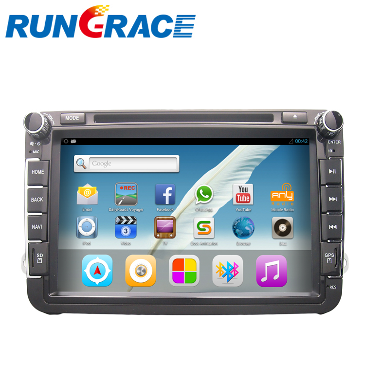 RUNGRACE touch screen android car multimedia system and navigation system for vw