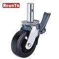 Scaffolding caster with 6in 8in Black Rubber Mold-on Steel Wheel