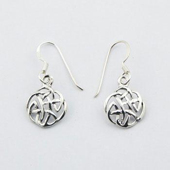 Sterling Silver Celtic Knot Round Openwork Danglers