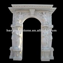 French Style Marble Arch Door With Statue and Pattern Carvings