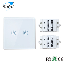 2016 Smart Home 2 gang 2 way Waterproof Remote Control Wall Light Touch Switch with Glass Panel