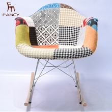 Upholstered dining chair colored Patterned Rocker Arm Chair wholesale