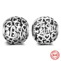 Love Family Hollow Round 925 Sterling Silver European Charm Beads For DIY European Bracelet Necklace Jewelry DSP058