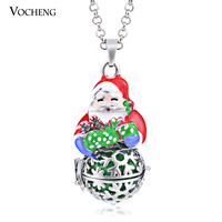 10pcs/lot Santa Claus Cage Angel Ball Christmas Hollow out Snowflake Baby Ringing Pendant Necklace (VA-105) Free Shipping