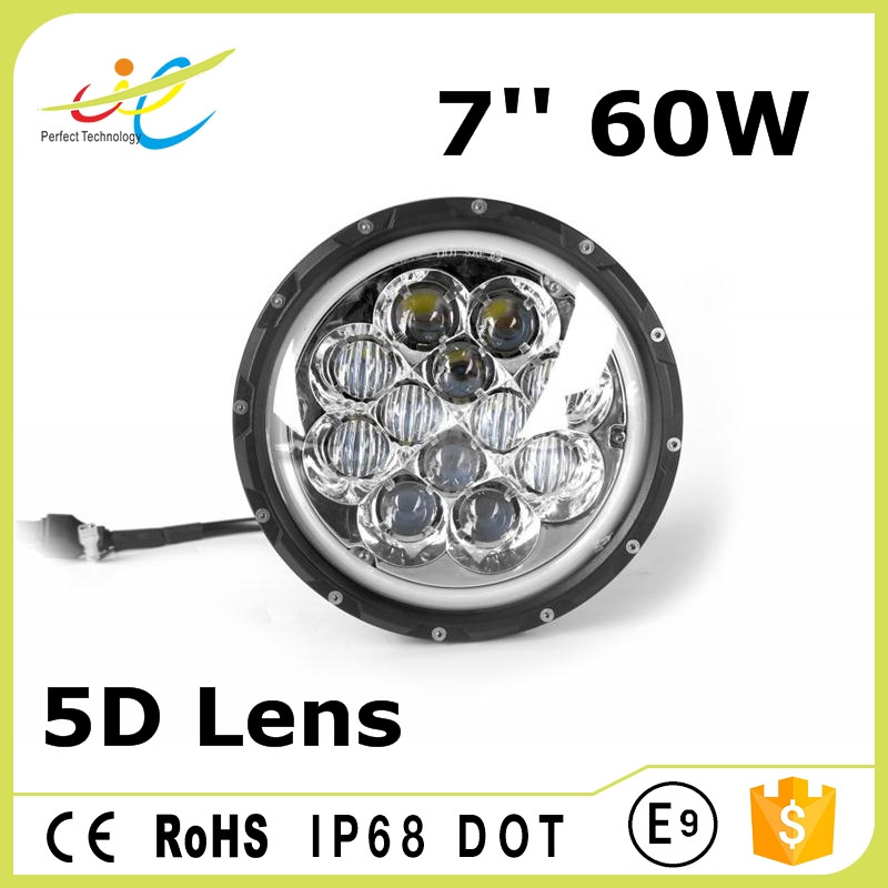 "7"" 7inch 60W CREE LED Headlight Assembly with Halo Ring Angel Eye & DRL & Turn Lights for Jeep Wrangler Harley"