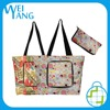 lightweight durable polyester fashion zipper pattern folding shopping tote bag