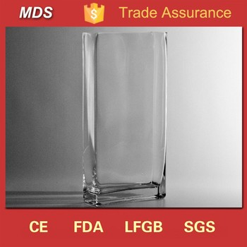 High Quality transparent square art cheap glass vases uk in bulk