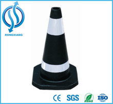 500 mm Reflective Traffic Safety Cone Road Construction Cone Black and White Rubber Cone
